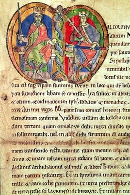 Page from the Charter of Kelso Abbey with an illuminated initial depicting King David I