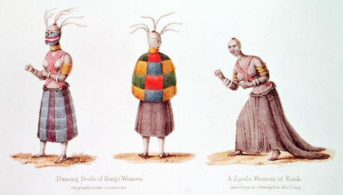 Dancing Dress of King's Women and a Zoolu Woman of Rank, illustration from 'Narrative of a Journey to the Zoolu Country' by A.F. Gardiner, 1836