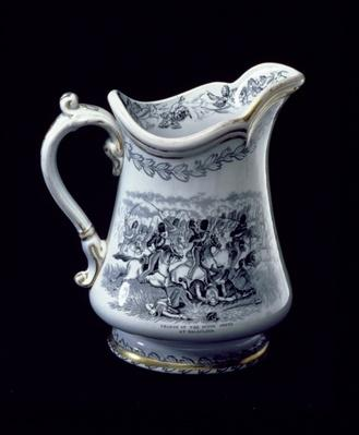 Jug with a depiction of the Charge of the Scots Greys at Balaclava