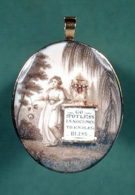 Memorial pendant inscribed with 'Go Spotless Innocence to Endless Bliss'