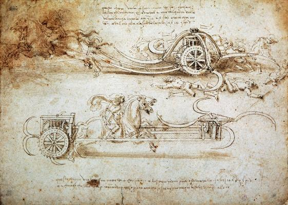 War machine, by Leonardo da Vinci (1452-1519), drawing, (Inv 15583) | Pre-Industrial Revolution Inventors and Inventions