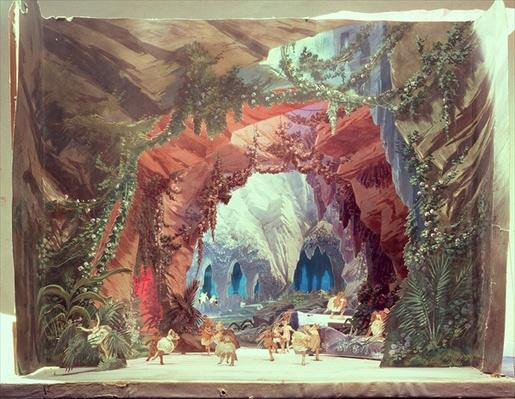 Stage model for the opera 'Tannhauser' by Richard Wagner