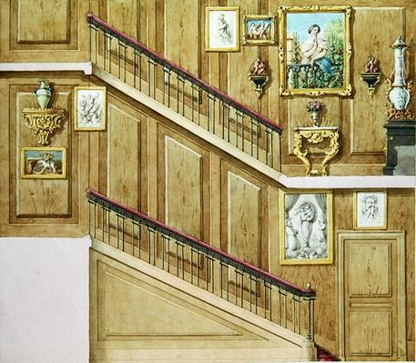 Design for a staircase at rue Fortunee, bought by Honore de Balzac