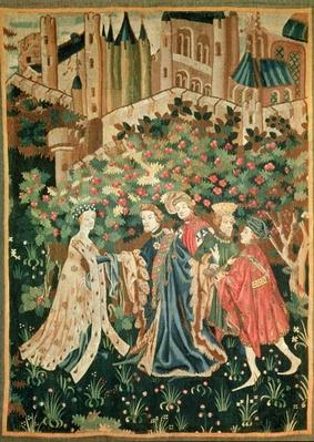 A Nobleman Greeting a Lady with his Servants, Arras