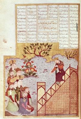 Or 2780 fol.61 Genghis Khan addressing a congregation at the mosque in Bukhara, from a Shahanshahnama, c.1397-98