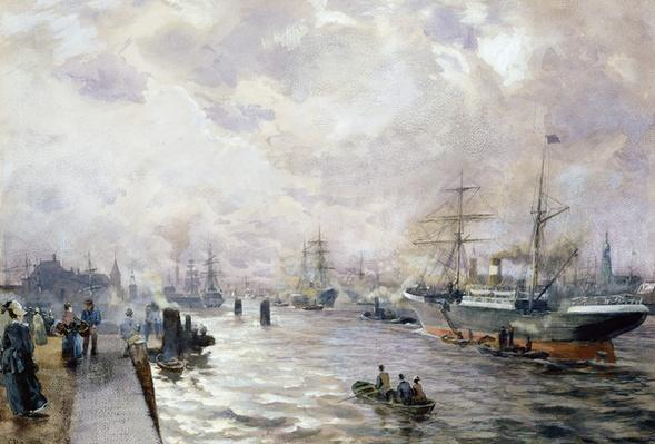 Sailing Ships in the Port of Hamburg, 1889