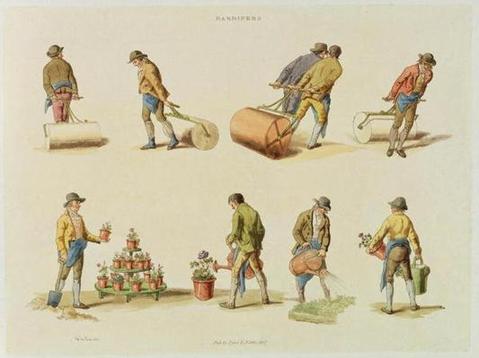 Gardeners, vol.2, plate 97, from 'Microcosm', printed by J. Hill, 1808