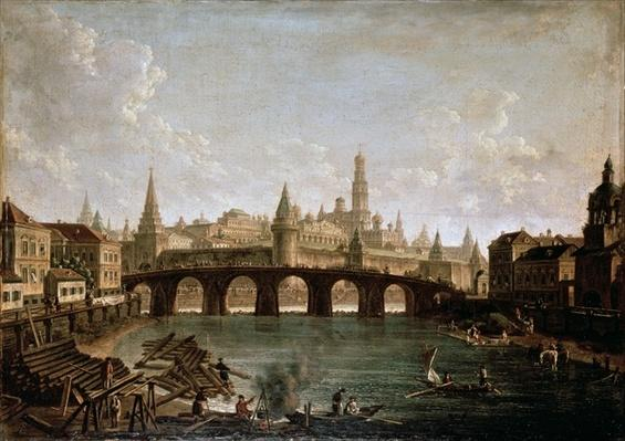 View of the Kremlin and the Kamenny Bridge in Moscow, 1810s