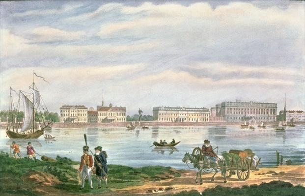 The Marble Palace and the Neva Embankment in St. Petersburg, 1822