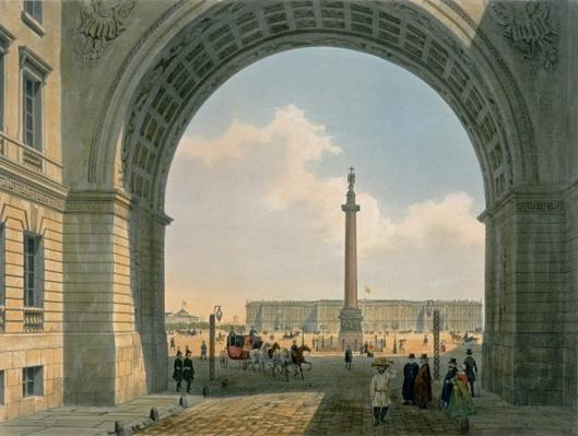Palace Square, View from the Arch of the Army Headquarters, St. Petersburg, printed by Lemercier, Paris, 1840s