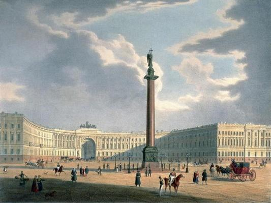 The Alexander Column and the Army Headquarters in St. Petersburg, printed by Lemercier, Paris, 1840s