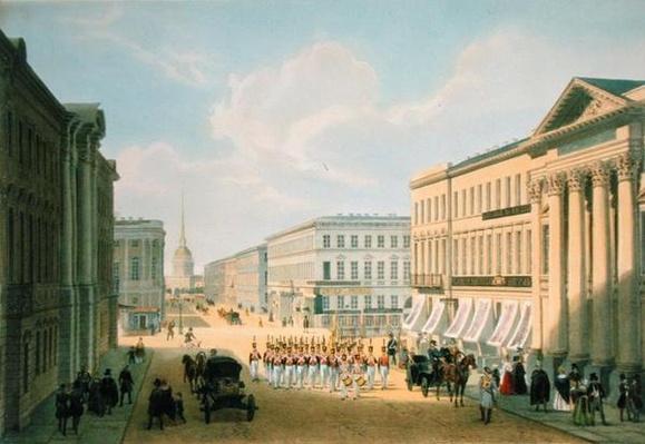 The Police Bridge and Nevsky avenue in St. Petersburg, printed by Lemercier, Paris, 1840s