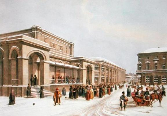 The New Stock Exchange and the Arcade in Moscow, printed by Lemercier, Paris, 1840s
