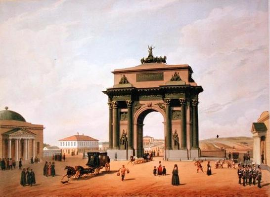 The Triumphal Arch in the Tverskaya Square in Moscow, printed by Lemercier, Paris, 1840s