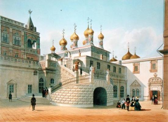 View of the Boyar Palace in the Moscow Kremlin, printed by Lemercier, Paris, 1840s