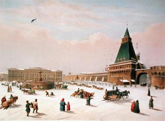 Loubyanska Square in Moscow, printed by Louis-Pierre-Alphonse Bichebois