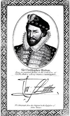 Portrait and signature of Sir Christopher Hatton