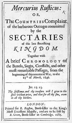 Front page from 'Mercurius Rusticus', published in 1685
