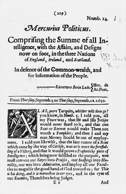 Front page, from 'Mercurius Politicus', in defence of the Commonwealth and for Information of the People, 1650