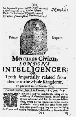 Front page from 'Mercurius Civicus', published in 1644