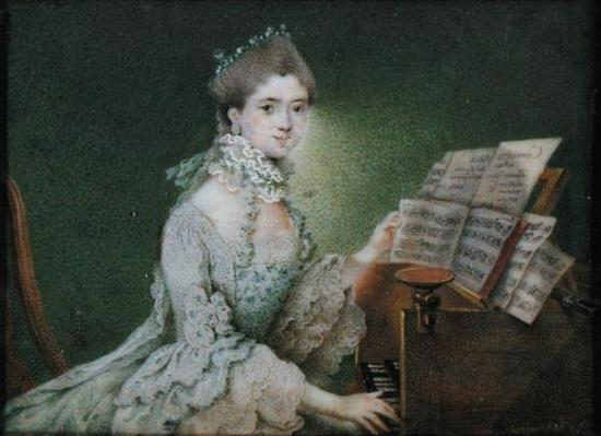 Portrait of a singer at the harpsichord