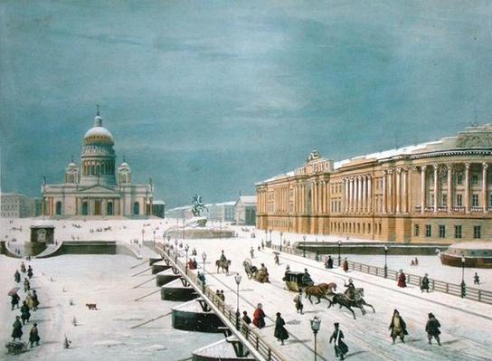 The Isaac Cathedral and the Senate Square in St Petersburg, 1840s