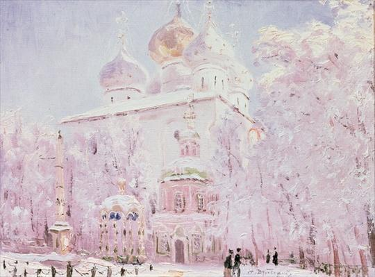 Winter in the Trinity-St. Sergius Lavra in Sergiyev Posad, c.1910