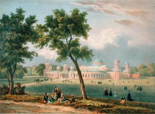 The Peter the Great Palace in Moscow, printed by Edouard Jean-Marie Hostein