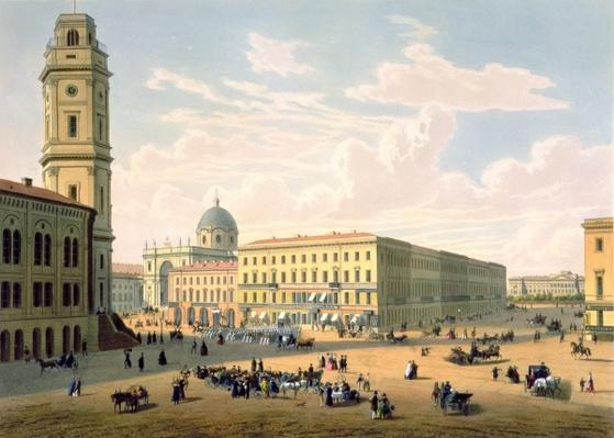 The Catholic Church and Mikhailovskaya Street in St. Petersburg, printed by J. Jacottet and Regamey, published by Lemercier, Paris, 1850s