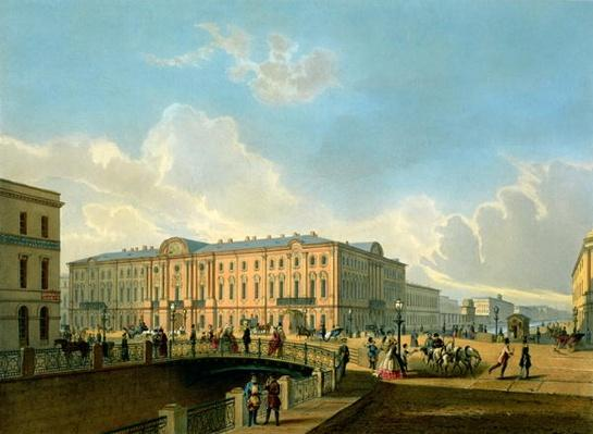 The Moyka Embankment and the Police Bridge in St. Petersburg, printed by J. Jacottet and Regamey, published by Lemercier, Paris, 1850s
