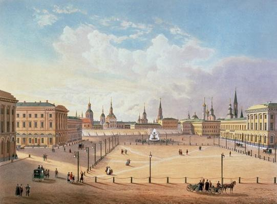 The Theatre Square in Moscow, printed by Jacottet and Bachelier, 1830s