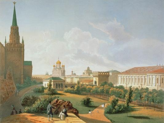 The Alexander Garden in Moscow, printed by Jacottet and Bachelier, 1830