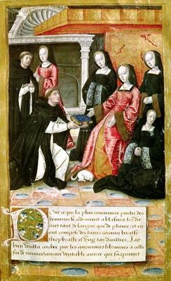 Ms.17 fol.1 The Author Offering his Book to Anne of Brittany