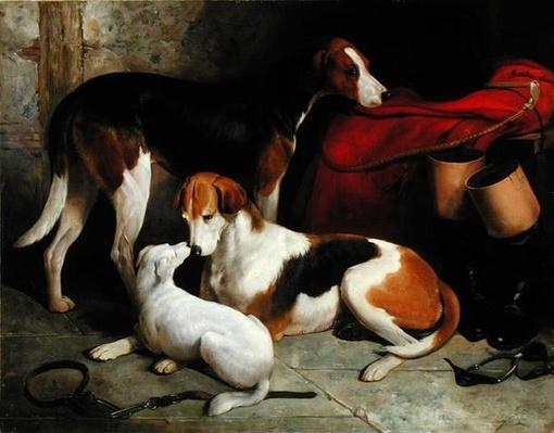 A Couple of Lord Henry Bentinck's Foxhounds with a Terrier, c.1845
