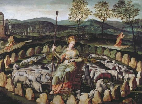St. Genevieve Guarding her Flock by Fontainebleau School, (16th century)