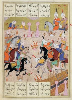 Ms d-212 A Game of Polo Between a Team of Men and a Team of Women, from the 'Khamsa' of Nizami, c.1550