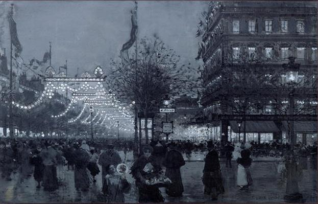 The Grands Boulevards, Paris, decorated for the Celebration of the Franco-Russian Alliance in October 1893
