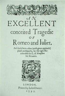 Title Page from 'Romeo and Juliet' by William Shakespeare