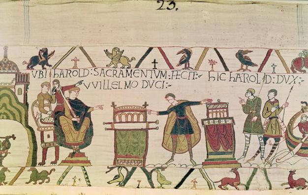 Harold Swears an Oath that he will Accept William as King of England, from The Bayeux Tapestry