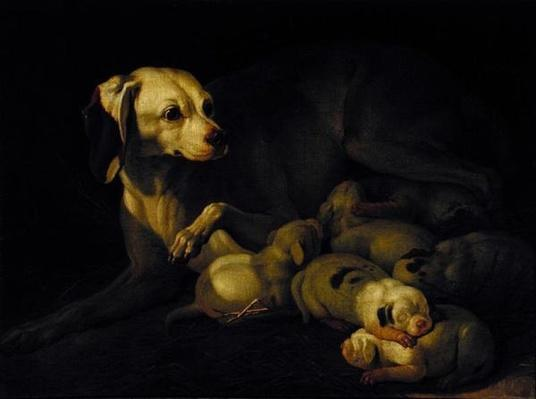 The Bitch Hound Nursing her Puppies, detail after an original by Jean-Baptiste Oudry, 1755