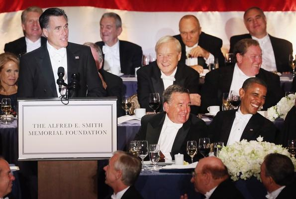 Barack Obama And Mitt Romney Address Alfred E. Smith Memorial Foundation Dinner | U.S. Presidential Elections 2012