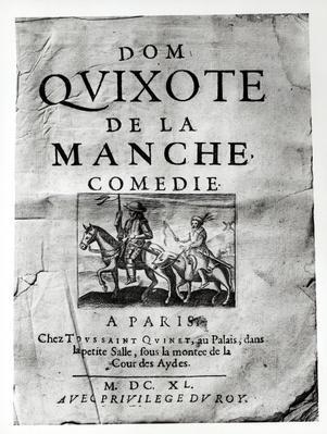 Title page from 'Dom Quixote de La Manche Comedie' by Guerin de Bouscal, 1640