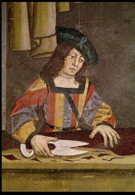 A Cloth Merchant Cutting Cloth