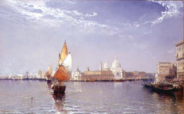 Venetian Canal Scene with the Salute in the distance