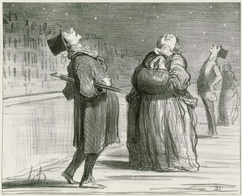 Series 'Actualites', Parisians waiting for the arrival of the famous comet, plate 370, illustration from 'Le Charivari', 25th February 1857