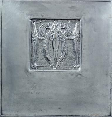 Decorative panel of beaten metal, 1898-99