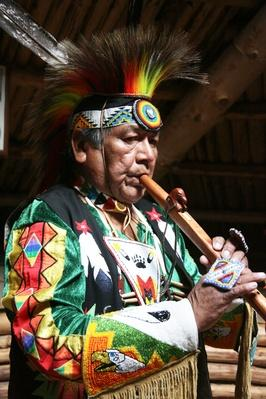 Shuswap Cultural Guide Playing Flute | Musical Instruments