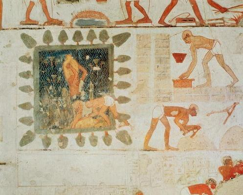 Wall painting depicting two men collecting water from a square lake surrounded by trees and slaves making bricks, from the tomb of Rekhmire, vizier of Tuthmosis III and Amenhotep II, New Kingdom