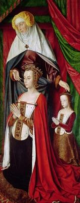 The Bourbon Altarpiece, right hand panel depicting St. Anne presenting Anne of France