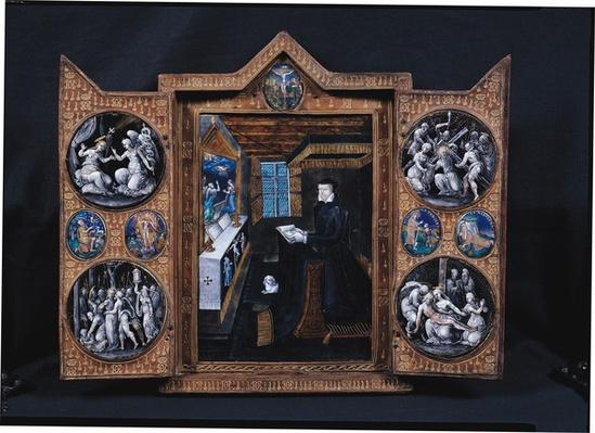 Mourning cabinet with scenes of the life of Christ and attributes of Henri II